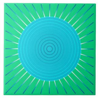 Modern Geometric Sunburst - Blue and Jade Green Ceramic Tile
