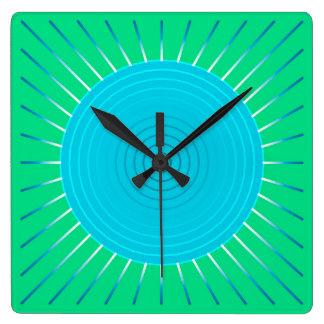 Modern Geometric Sunburst - Blue and Jade Green Square Wall Clock