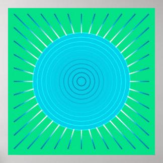 Modern Geometric Sunburst - Blue and Jade Green Posters