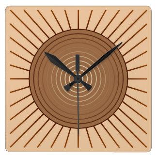 Modern Geometric Sunburst - Brown and Tan Square Wall Clocks