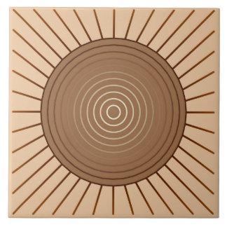 Modern Geometric Sunburst - Brown and Tan Tile