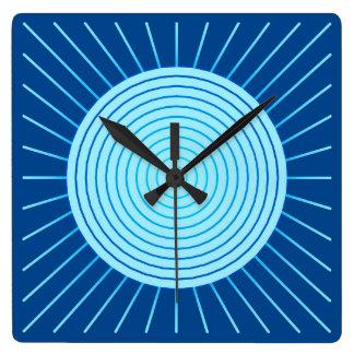 Modern Geometric Sunburst - Cobalt Blue and Aqua Square Wall Clocks