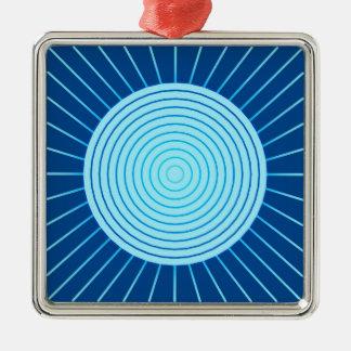 Modern Geometric Sunburst - Cobalt Blue and Aqua Metal Ornament