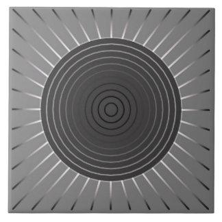 Modern Geometric Sunburst - Dark Hematite Grey Ceramic Tile