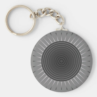 Modern Geometric Sunburst - Dark Hematite Grey Keychain