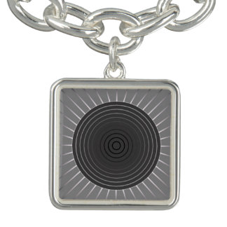 Modern Geometric Sunburst - Dark Hematite Grey Charm Bracelets