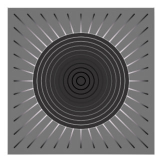 Modern Geometric Sunburst - Dark Hematite Grey Poster