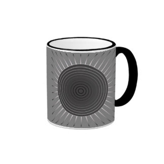Modern Geometric Sunburst - Dark Hematite Grey Ringer Mug