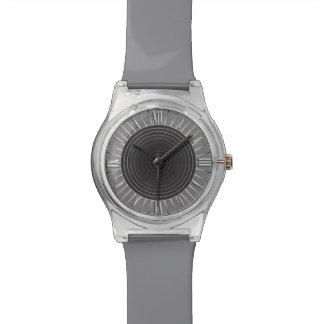 Modern Geometric Sunburst - Dark Hematite Grey Wrist Watch