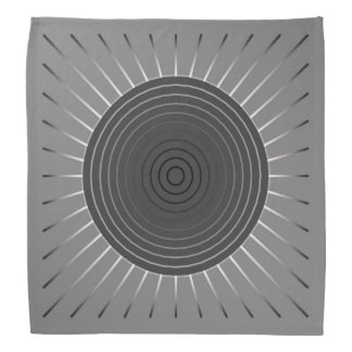 Modern Geometric Sunburst - Dark Hematite Grey Bandana