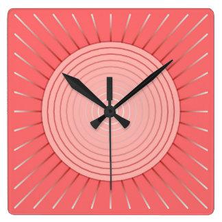 Modern Geometric Sunburst - Deep Coral Pink Square Wall Clock