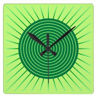 Modern Geometric Sunburst - Emerald Green and Lime Square Wall Clocks