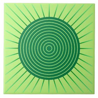 Modern Geometric Sunburst - Emerald Green and Lime Tile
