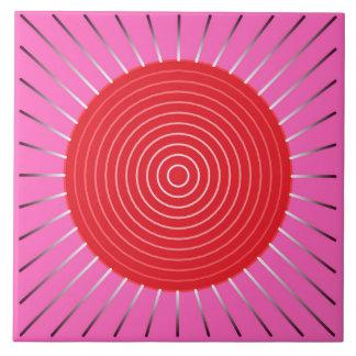 Modern Geometric Sunburst - Fuchsia and Red Tile