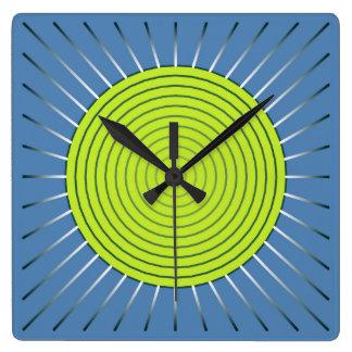 Modern Geometric Sunburst - Lime and Denim Blue Square Wallclocks