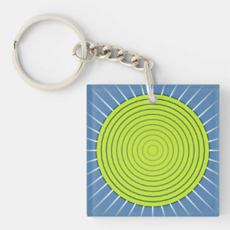 Modern Geometric Sunburst - Lime and Denim Blue Keychain