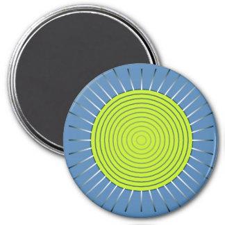 Modern Geometric Sunburst - Lime and Denim Blue Magnet