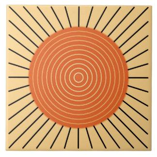 Modern Geometric Sunburst - Mandarin Orange Ceramic Tile
