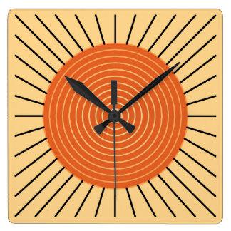 Modern Geometric Sunburst - Mandarin Orange Square Wallclock