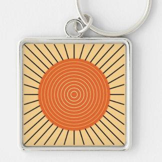 Modern Geometric Sunburst - Mandarin Orange Keychain