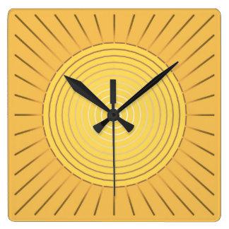 Modern Geometric Sunburst - Mustard Gold / Yellow Square Wallclocks