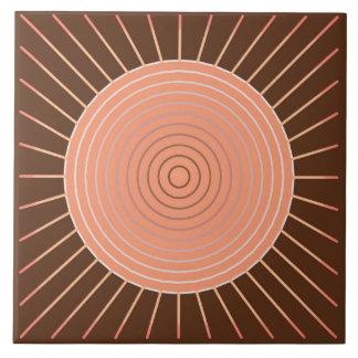 Modern Geometric Sunburst - Peach and Brown Tile