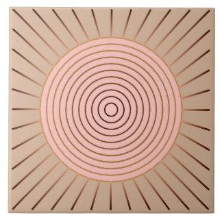 Modern Geometric Sunburst - Peach and Tan Tile