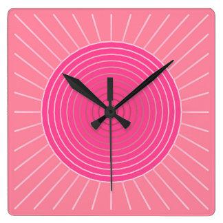 Modern Geometric Sunburst - Shades of Coral Pink Square Wallclock