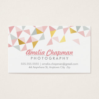 MODERN GEOMETRIC triangle aztec pattern coral gold Business Card