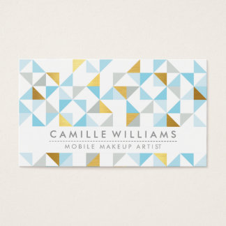 MODERN GEOMETRIC triangle aztec pattern gray blue Business Card