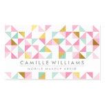 MODERN GEOMETRIC triangle aztec pattern mint pink Business Card Templates