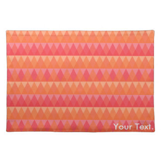 Modern Geometric Triangle Pattern Coral & Pink Art Cloth Placemat