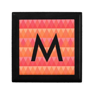 Modern Geometric Triangle Pattern Coral & Pink Art Jewelry Boxes