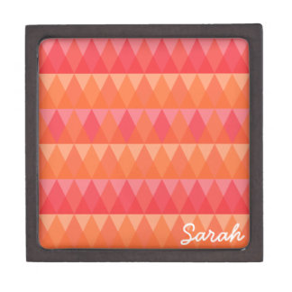Modern Geometric Triangle Pattern Coral & Pink Art Premium Gift Boxes