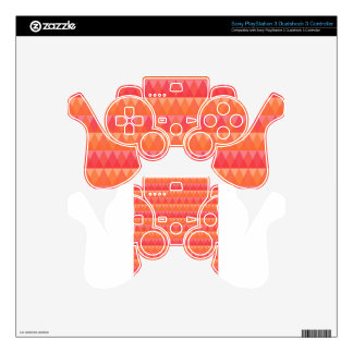Modern Geometric Triangle Pattern Coral & Pink Art PS3 Controller Skins