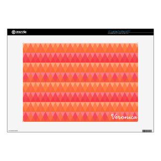 "Modern Geometric Triangle Pattern Coral & Pink Art Skin For 15"" Laptop"