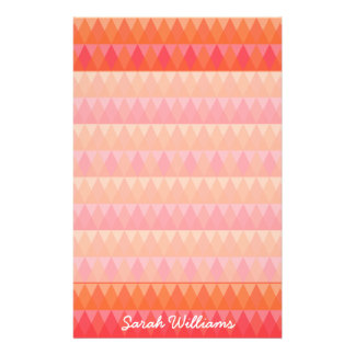 Modern Geometric Triangle Pattern Coral & Pink Art Stationery