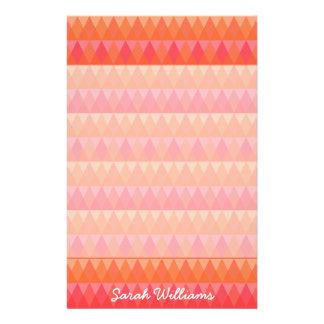 Modern Geometric Triangle Pattern Coral & Pink Art Stationery
