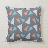 Modern Geometric Triangle Pattern  Gray Pillows