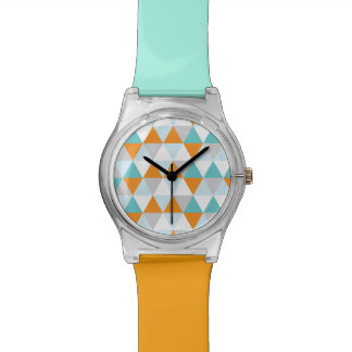 Modern Geometric Triangles in Teal and Orange Wristwatches