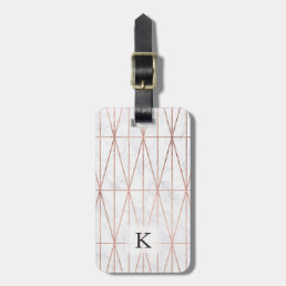 Modern geometric triangles rose gold white marble bag tag