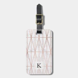 Modern geometric triangles rose gold white marble bag tag