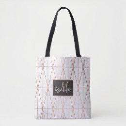 Modern geometric triangles rose gold white marble tote bag