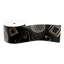 Modern geometric tribal pattern grosgrain ribbon