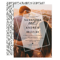 Modern geometric typography photo wedding invitation