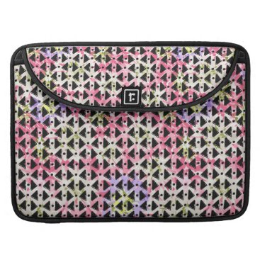Aztec Themed Modern geometric weave pink mauve green black sleeve for MacBook pro