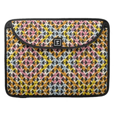 Aztec Themed Modern geometric weave pink yellow blue black sleeve for MacBook pro