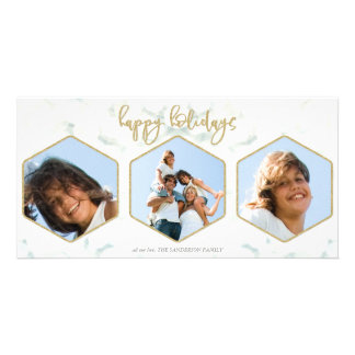 Modern Geometric White and Gold Happy Holidays Card