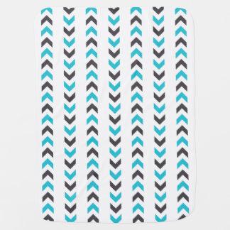 Modern Geometric White & Blue Arrows Pattern Swaddle Blanket