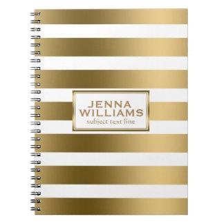 Modern Geometric White & Gold Stripes Spiral Note Book